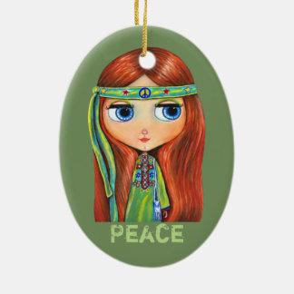 Cute Little Green Hippie Girl Peace Sign Ceramic Oval Ornament