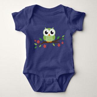 Cute Little Green Owl Baby Jersey Bodysuit