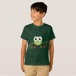 Cute Little Green Owl Kids T-shirt