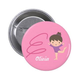 Cute Little Gymnast Girl and Ribbon Gymnastics 2 Inch Round Button