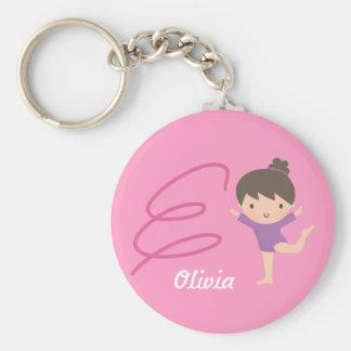 Cute Little Gymnast Girl and Ribbon Gymnastics Keychain
