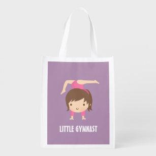 Cute Little Gymnast Girl Gymnastics Pose Reusable Grocery Bag 7749a190dff35