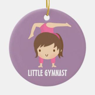Cute Little Gymnast Girl Gymnastics Room Decor Round Ceramic Ornament