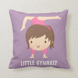 Cute Little Gymnast Girl Gymnastics Room Decor Throw Pillow