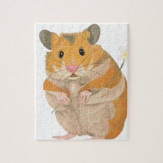 Cute little Hamster holding a flower Jigsaw Puzzle