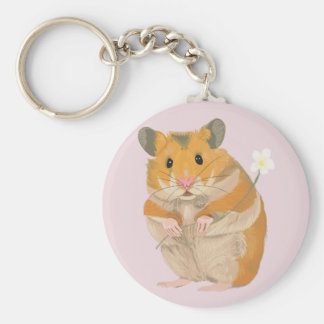 Cute little Hamster holding a flower Keychain