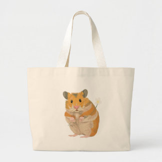 Cute little Hamster holding a flower Large Tote Bag