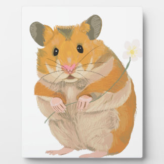 Cute little Hamster holding a flower Plaque