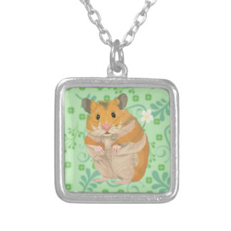 Cute little Hamster holding a flower Silver Plated Necklace