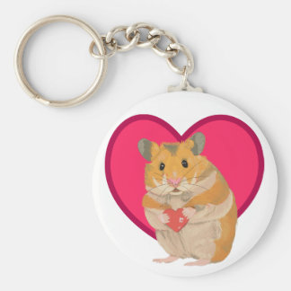 Cute little Hamster holding a red heart Keychain