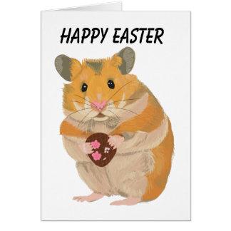 Cute little Hamster holding an Easter Egg Card