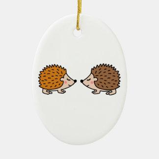 Cute little hand drawn hedgehogs in love ceramic ornament