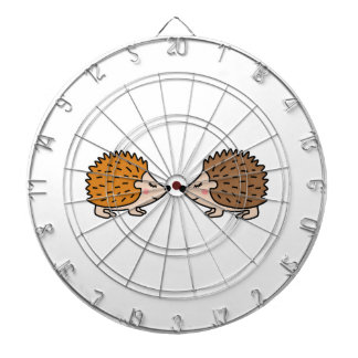 Cute little hand drawn hedgehogs in love dartboard