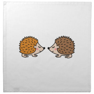 Cute little hand drawn hedgehogs in love napkin