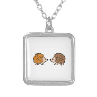 Cute little hand drawn hedgehogs in love silver plated necklace