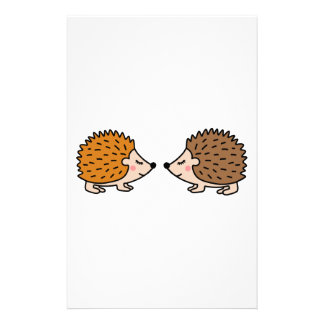 Cute little hand drawn hedgehogs in love stationery