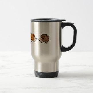 Cute little hand drawn hedgehogs in love travel mug