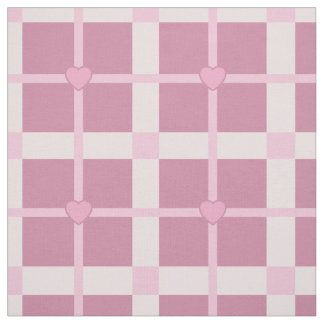 cute little hearts baby pink plaid pattern squares fabric