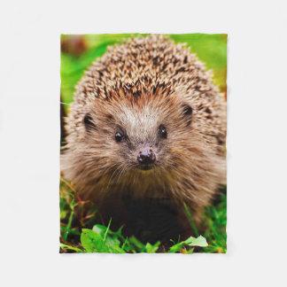 Cute Little Hedgehog in the Forest Fleece Blanket