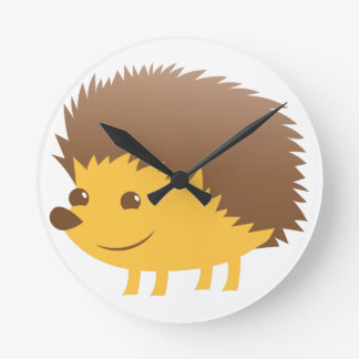 cute little hedgehog round clock