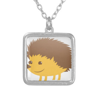 cute little hedgehog silver plated necklace