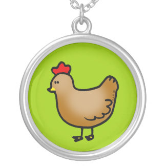 Cute little hen silver plated necklace