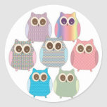 Cute Little Hoot Owls Assorted Colours Round Stickers