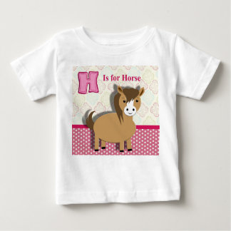 Cute Little Horse Kids Alphabet Picture Baby T-Shirt