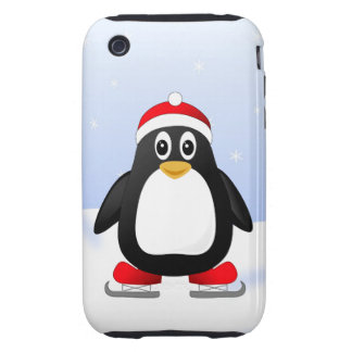 Cute Little Ice Skating Cartoon Penguin Tough iPhone 3 Covers