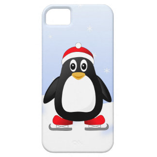 Cute Little Ice Skating Cartoon Penguin iPhone 5 Cases