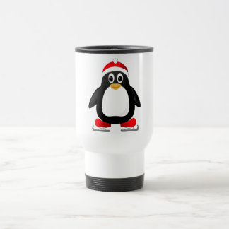 Cute Little Ice Skating Cartoon Penguin Travel Mug