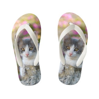 Cute Little Kitten Fluffy Photo Cat Lovers - Kids Kid's Flip Flops