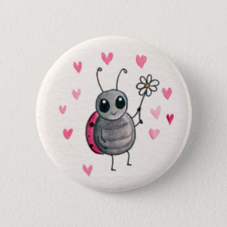 Cute Little ladybird or Ladybug with daisy 2 Inch Round Button