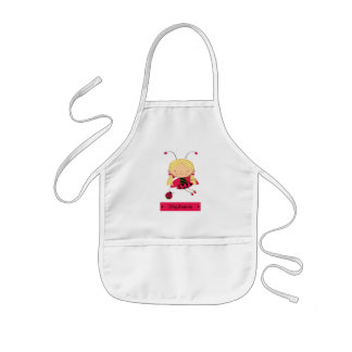 Cute little ladybug girl personalized apron