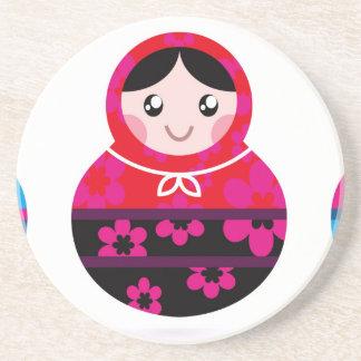 Cute little Matroshkas on white Coaster