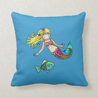 Cute Little Mermaid and Fish Pillow for Kids