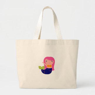 Cute little Mermaid on white Large Tote Bag