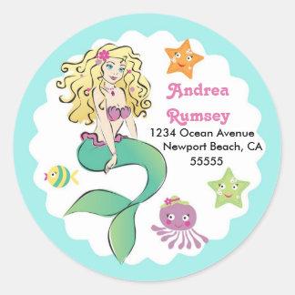 Cute Little Mermaid Round Sticker
