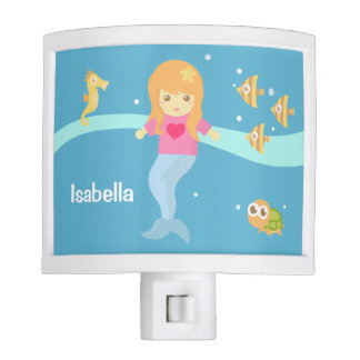 Cute Little Mermaid Sea Creatures Girls Room Night Light