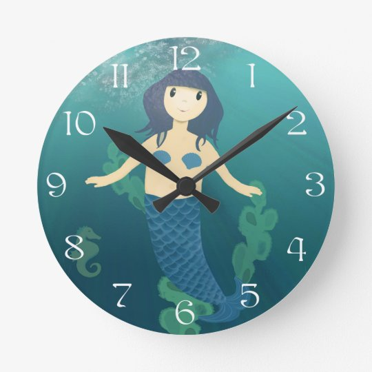 Cute Little Mermaid & Sea Horse Cartoon Clock