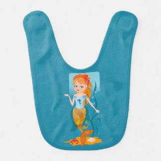 Cute little mermaid with red hair and blue eyes bibs