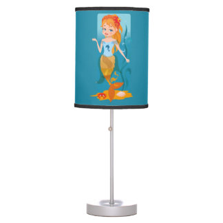 Cute little mermaid with red hair and blue eyes desk lamps