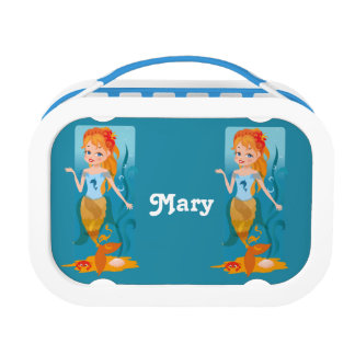 Cute little mermaid with red hair and blue eyes lunch box