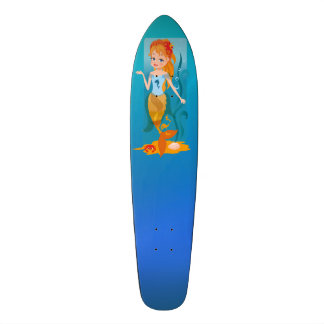 Cute little mermaid with red hair and blue eyes skate board deck