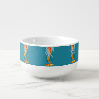 Cute little mermaid with red hair and blue eyes soup mug