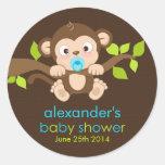 Cute Little Monkey Boy Baby Shower Sticker