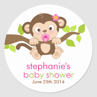 Cute Little Monkey Girl Baby Shower Sticker