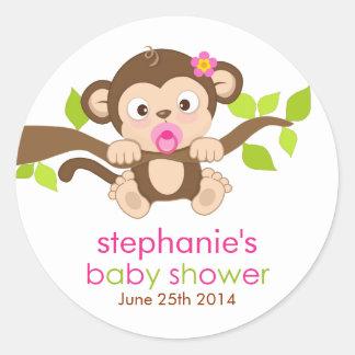 Cute Little Monkey Girl Baby Shower Sticker Round Sticker
