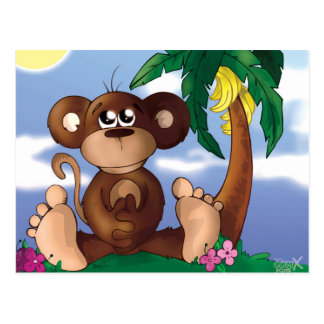 Cute Little Monkey Sitting Next to Banana Tree Postcard