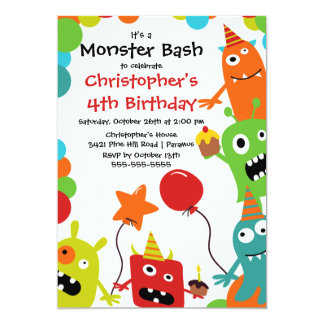 "CUTE Little Monster Bash Birthday Party 5"" X 7"" Invitation Card"